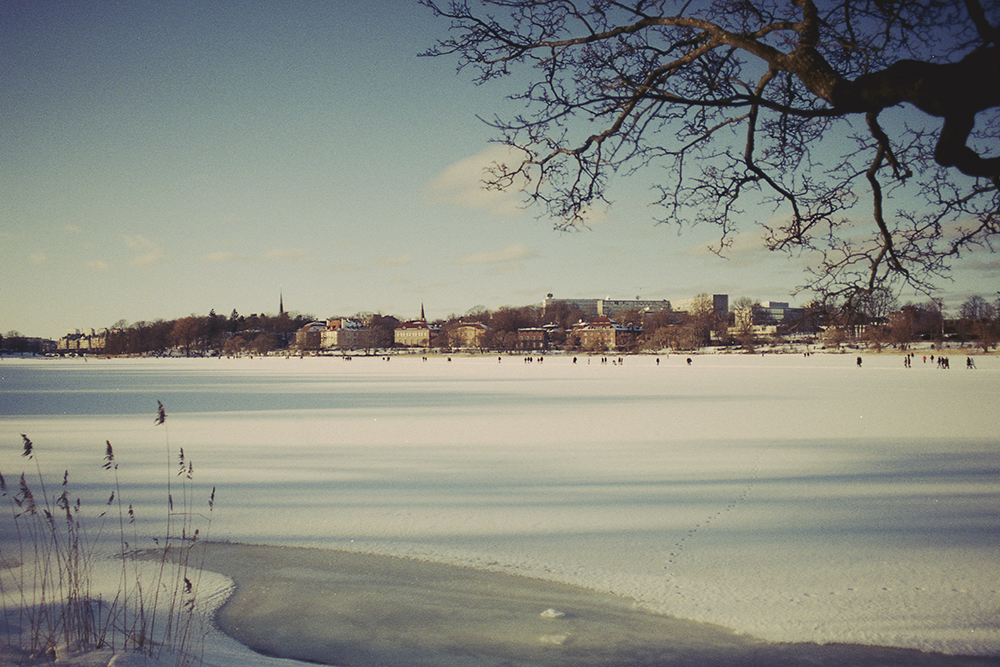 people walking on ice sweden