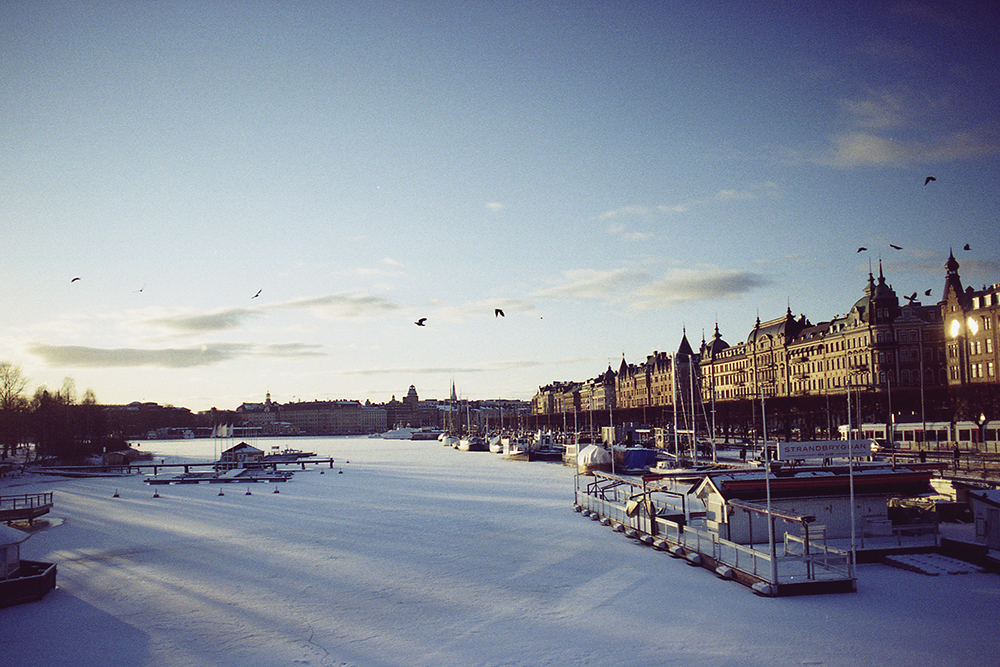 sunny and snowy stockholm