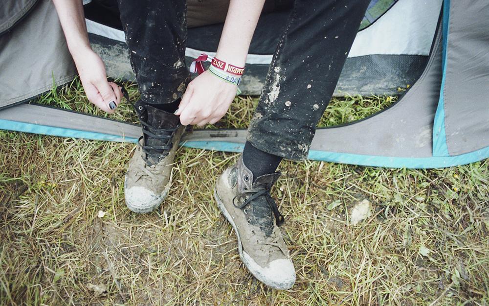 opener festival poland rain mud tent