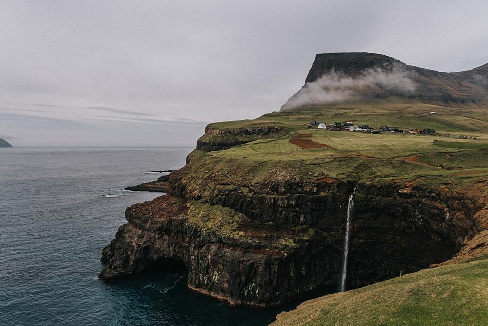 Wyspy owcze Vágar wodospad Gasadalur Mulafossur